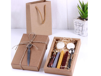 Sealing Wax Seal Set Retro Envelope Wax Seal Alphabet Kraft Paper Gift Box